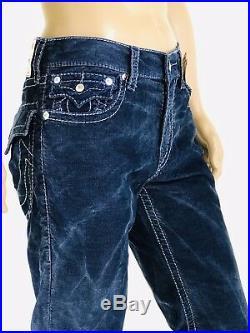 $249 Big T True Religion Men Corduroy Jeans Blue Acid Wash 30 31 32 33 34 36 38