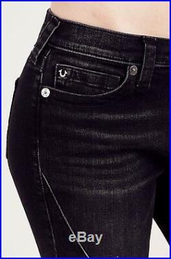$250 NEW TRUE RELIGION BLACK SUPER SKINNY WOMENS JEANS DISTRESSED MOTO Cotton 27