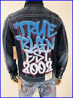 $269 Big T Graffiti True Religion Men Jackets Trucker Denim Blue Ripped Super T