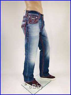 $269 Chain Stitch True Religion Men Jeans Red 30 31 32 34 36 38 40 Super T Mega