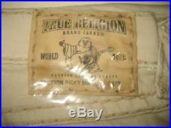 $328 NEW TRUE RELIGION JEANS Mens 31 x 34 Ricky Super T Straight Off-White Denim