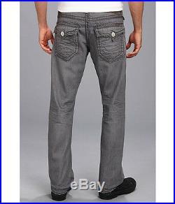 $328 NEW True Religion Jeans Men Ricky Straight Super T Grey 33 x 34 Rocky Cover