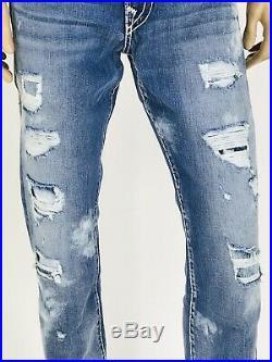 $369 Super T Ricky True Religion Men Jeans Super T Destroyed 34 36 Ripped QT T