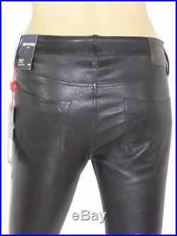 $499 Lamb Leather Super Skinny True Religion Women Jeans Leather 26 28 29 30 31