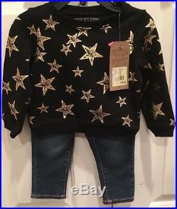 5 PIECE-NEW TRUE RELIGION Baby Girl STAR SWEATSHIRT & JEANS 6M/12M + PJs & Book