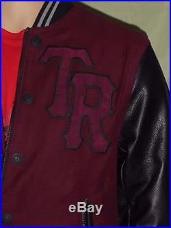 $549 True Religion Men Jackets Leather Varsity Collegiate Moleskin M4401TF4