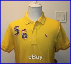 AUTH $128 True Religion Men's Palm Tree Polo Shirt Yellow