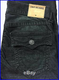 Men's True Religion Brand Ricky Corduroy Black Straight Leg Jeans Pants New