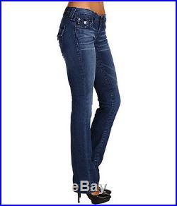 NEW $176 TRUE RELIGION Womens Billy Straight Leg Stretch Blue Jeans Denim 24 x35