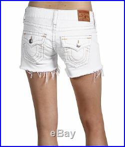 NEW $179 True Religion Jeans Keira 24 x 4 Cut-Off Hem Shorts Lowrise White Denim
