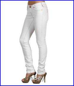 NEW $191 True Religion Brand Jeans Shannon Sexy White LowRise Skinny Leg Denims