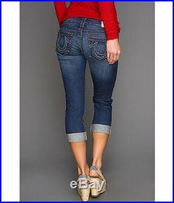 NEW $198 TRUE RELIGION Jeans Lizzy Crop Capri Lowrise Skinny Blue Memphis Denim