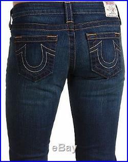 NEW $198 TRUE RELIGION Jeans Lizzy Crop Capri Lowrise Skinny Dark Blue Denims