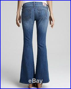 NEW $198 True Religion Brand Jeans Women Petite Carrie Flare Blue Denims 24 x 30