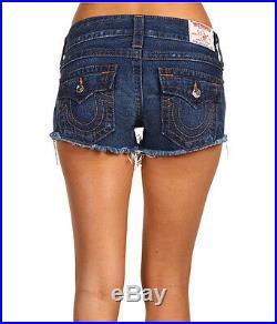 NEW $198 True Religion Jeans Joey Cut-Off Lowrise Shorts Pioneer Blue Wash Denim