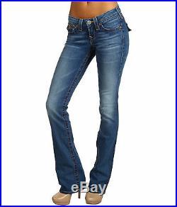 NEW $198 True Religion Jeans Womens Tony Lowrise Slim Cut Bootleg Blue Denims 26
