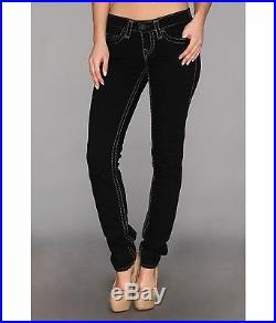 NEW $329 True Religion Jeans Stella Super T Black Skinny Lowrise Denims 27-29x33