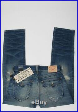 NEW Men's True Religion Jeans RICKY Selvedge Relaxed Straight Size 34 w Flap