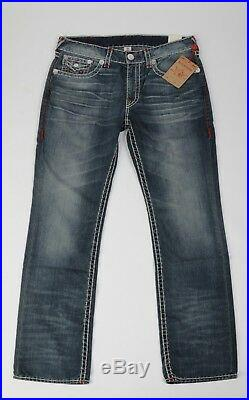 NEW Men's True Religion Jeans Straight Natural RED SUPER T size 36 Flap