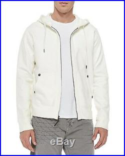 NEW TRUE RELIGION BRAND Men's White Coated Faux Leather Jacket Coat W Hood
