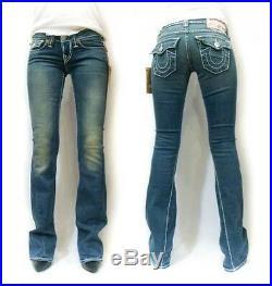 NEW TRUE RELIGION Brand Joey White Edge Super T Stitch Storm Rider Blue Jeans