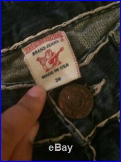 NEW- TRUE RELIGION Mens RICKY string indigo SUPER T jeans in AAGM Sz 34 X 31.5