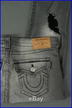 NEW True Religion Jeans Destroyed Super Skinny Stretch size 32 Grey Women's