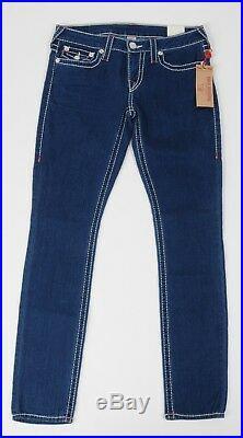 NEW True Religion Jeans Skinny STRETCH NAT BIG T Ruby Red Stitch size 31 Women's