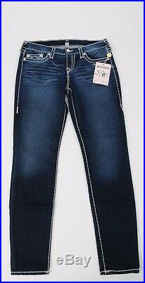 NEW True Religion Jeans Stretch Super T PINK size 32 Skinny Dark Wash Women's