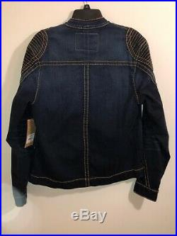 NEW True Religion Men's Blue Denim Moto Zip Up Jacket Coat Sz Small NWT $269