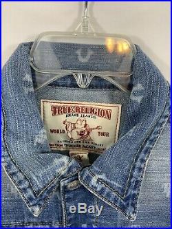 NEW True Religion Trucker Jacket- Monogram Logo Print Size Large