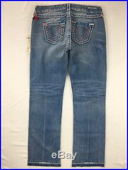 NWT TRUE RELIGION Jeans Low Rise Destructed Billie Super T Straight Jean 32 X 32