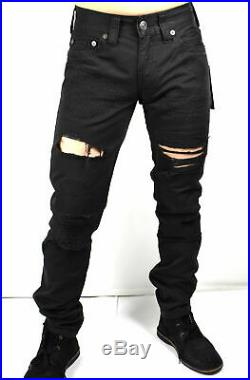 NWT TRUE RELIGION Men's'GENO' RELAXED SLIM FIT DISTRESSED Black JEANS W32