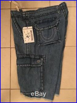 NWT TRUE RELIGION Men's WHT CARGO CUT OFF CARGO Shorts Size 34 RTL$178