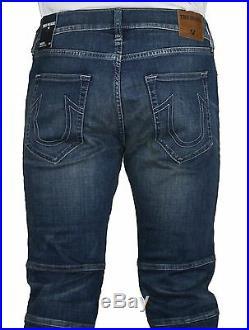 NWT True Religion Brand Men's Rocco Biker Dusty Rider Slim Leg Moto Jeans Pants