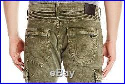 NWT True Religion Brand Men's Rocco Moto Cargo Green Skinny Biker Jeans Pants