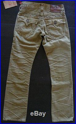 NWT True Religion Mens Ricky Big T Overdye Jeans in ASSD Desert Sand