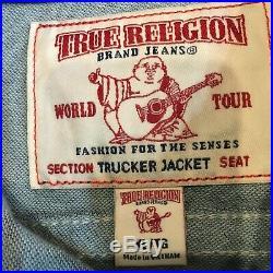 NWT True Religion World Tour Denim Trucker Jacket Men's XL MSRP $229 NEW