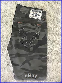 New! $299 True Religion Mens Slim Moto Single End Slow Ride Camo Pants Size 32