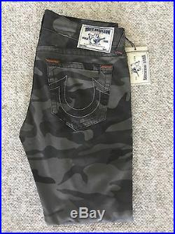 New! $299 True Religion Mens Slim Moto Single End Slow Ride Camo Pants Size 33