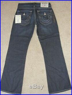 New Men's True Religion Jeans SZ 32 Blue Lonestar Basic Bootcut Natural Denim