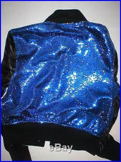 New NWT $448 Womens True Religion Varsity Leather Sequin Jacket XS Blue Black