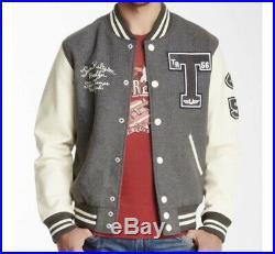 New Size Xxl True Religion Richie Letterman Varsity Jacket Leather Wool Grey