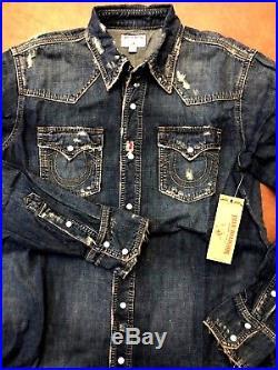 New TRUE RELIGION DENIM WESTERN NATURAL DISTRESSED MENS SHIRT Size XL $179