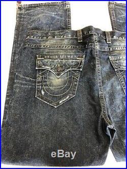 New TRUE RELIGION Mens BIG & TALL Blue Distressed Denim Boot-cut Jeans SZ46x35
