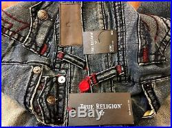 New TRUE RELIGION SUPER T GENO SLIM FIT With FLAP BIG STITCH JEANS SIZE W33 $379