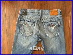 New True Religion Men Blue Denim Cut Off Shorts 34