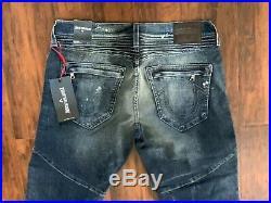 New True Religion Men Denim Moto Slim Geno Shorts 32