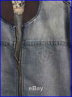 New True Religion Men's Denim Track Jacket Chill Indigo MZIB185TS $271 Size L