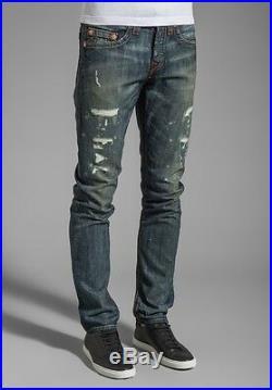 New True Religion Men's Jeans Geno Slim Leg Vintage Destroyed Granite Blue Pants